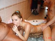 Blonde mom swinger threesome sex pics loves attention of men