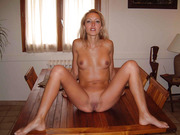 Long haired blonde young wife naked and giving head to love