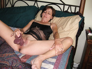 Mature amateur masturbating creamy pussy with dildo and vibrator