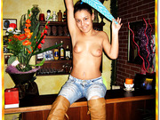 Sweet young and pretty girl Andreea is stripping down for her boyfriend at the bar