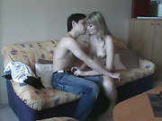Slim and sexy young hot wife fucking on new apartment sofa