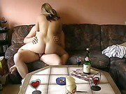 Chubby blonde wife oral and full sex on the couch at home after work