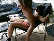 Blindfolded blonde and restrained gives a hot head on a recliner chair