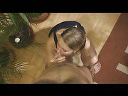 Heavy chested golden haired babe gives head