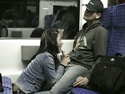 Exhibitionist German wife giving a blow job on a train ride at night